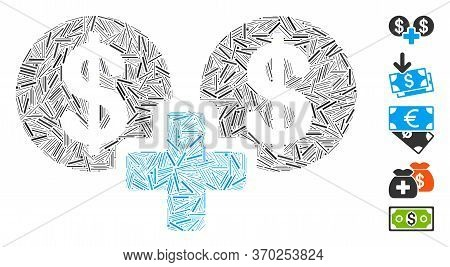 Dash Mosaic Based On Sum Money Icon. Mosaic Vector Sum Money Is Composed With Random Dash Dots. Bonu
