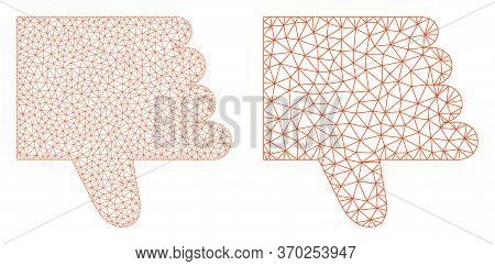 Mesh Vector Thumb Down Icon. Mesh Carcass Thumb Down Image In Low Poly Style With Combined Triangles
