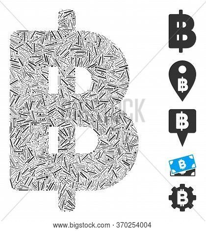 Hatch Mosaic Based On Thai Baht Icon. Mosaic Vector Thai Baht Is Composed With Scattered Hatch Dots.