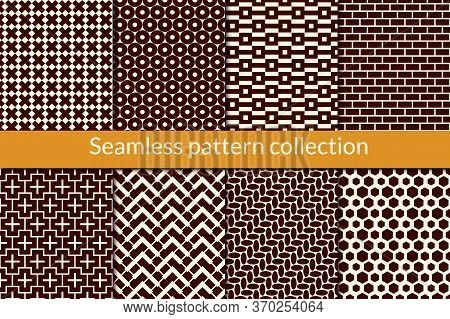 Geometric Seamless Pattern Collection. Geo Background Set. Zig Zag, Hexagons, Brickwall, Cross, Circ