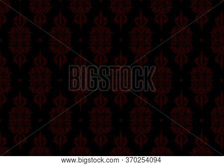 Floral Pattern. Vintage Wallpaper In The Baroque Style.black And Red Ornament For Fabric, Wallpaper,