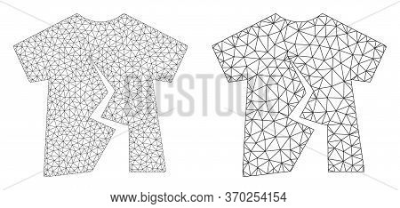 Mesh Vector Torn T-shirt Icon. Mesh Carcass Torn T-shirt Image In Lowpoly Style With Structured Tria