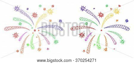 Mesh Vector Virus Festive Icon. Mesh Wireframe Virus Festive Image In Lowpoly Style With Structured