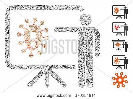 Line Mosaic Based On Virus Lecture Icon. Mosaic Vector Virus Lecture Is Composed With Scattered Line