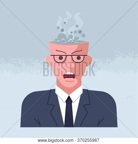 Mental Breakdown And Personal Burnout. Psychological Trauma Concept. Man Head With Boiling Brain Und
