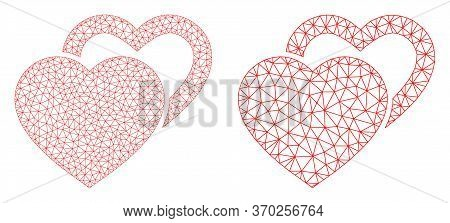 Mesh Vector Valentine Hearts Icon. Mesh Carcass Valentine Hearts Image In Low Poly Style With Combin