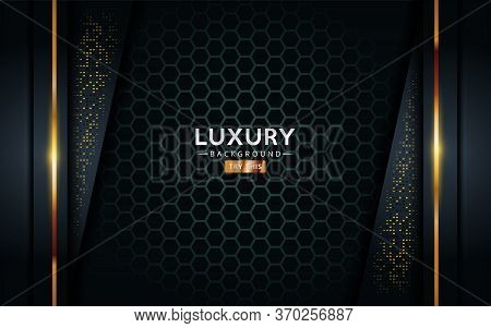 Luxurious Premium Black Abstract Background With Golden Lines. Overlap Textured Layer Design. Realis