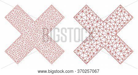Mesh Vector X-cross Icon. Mesh Wireframe X-cross Image In Low Poly Style With Organized Triangles, N