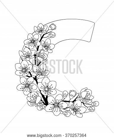 Capital Letter C Patterned With Contour Hand Drawn Doodle Blossom Cherry. Monochrome Page Anti Stres