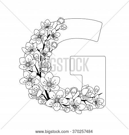 Capital Letter G Patterned With Contour Hand Drawn Doodle Blossom Cherry. Monochrome Page Anti Stres