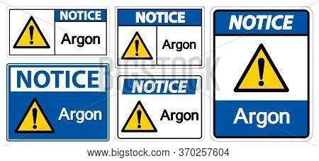 Notice Argon Symbol Sign Isolate On White Background,vector Illustration Eps.10