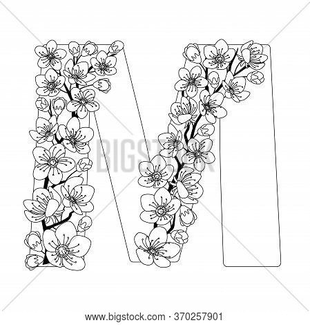 Capital Letter M Patterned With Contour Hand Drawn Doodle Blossom Cherry. Monochrome Page Anti Stres