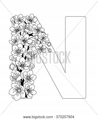 Capital Letter N Patterned With Contour Hand Drawn Doodle Blossom Cherry. Monochrome Page Anti Stres