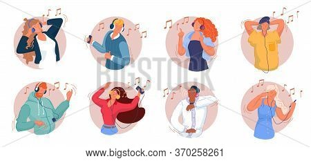 Music Listening. Smiling Men And Women Listening To Music On Smartphone, Dancing, Singing Song, Rela