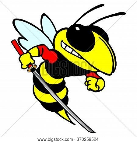 Color Stylized Vector Image Of A Wasp With A Katana. Color Stylized Vector Image Of A Hornets With A