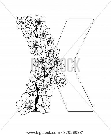 Capital Letter X Patterned With Contour Hand Drawn Doodle Blossom Cherry. Monochrome Page Anti Stres