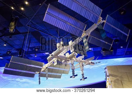 Washington, D.C., USA - November 11, 2017: Large model of the International Space Station in the Smithsonian National Air and Space Museum.