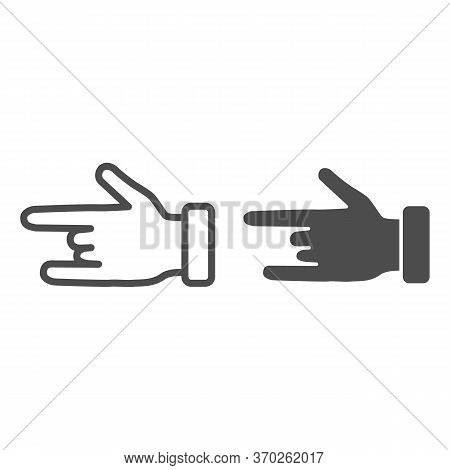 Hand In Rock And Roll Gesture Line And Solid Icon, Gestures Concept, Heavy Metal Sign On White Backg