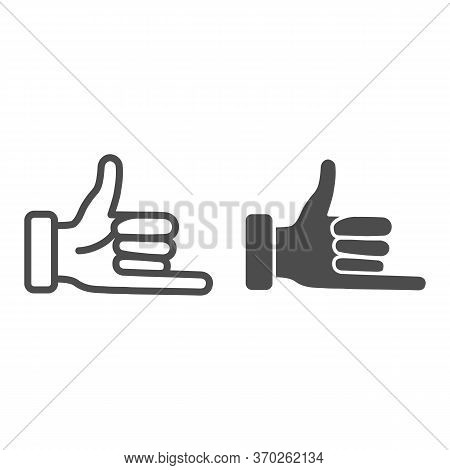 Promise Hand Gesture Line And Solid Icon, Gestures Concept, Fist With Elongated Little Finger Sign O