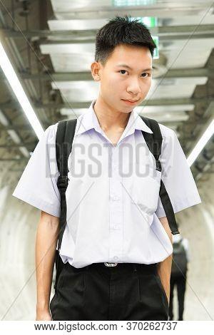 Close Up Cute Thai Student In Uniform