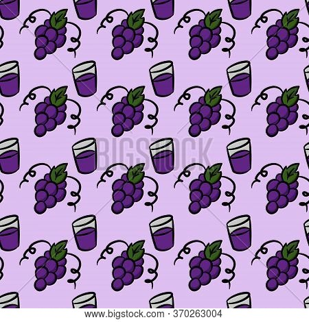 Seamless Pattern Background Of Grape On Purple Color