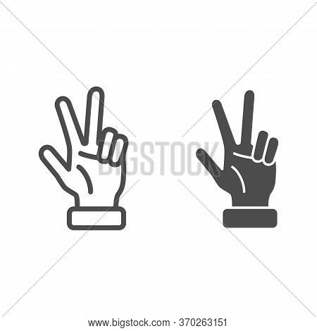 Hand Showing Three Fingers Line And Solid Icon, Hand Gestures Concept, Three Finger Gesture Sign On
