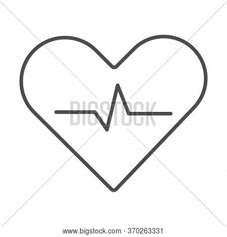 Heartbeat Thin Line Icon, Cardiology Concept, Cardiogram Sign On White Background, Heart With Heartb