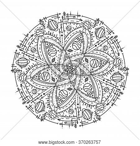 Ornament Beautiful Card With A Mandala. Cosmic Circle Element In Vector. Ideal Cards For Any Other D