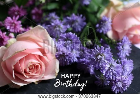 Happy Birthday. Happy Birthday Card And Greeting Concept With Bouquet Of Beautiful Pink Rose And Lit