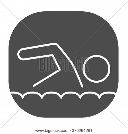 Swimmer Solid Icon, Nautical Concept, Man Swims In Sea Sign On White Background, Swimming Icon In Gl