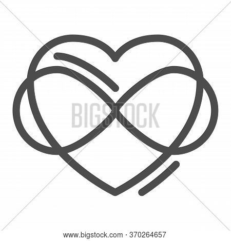 Infinity Sign In Heart Shape Line Icon, Free Love Concept, Love Eternity Sign On White Background, I
