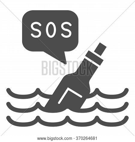 Bottle With Sos Message Solid Icon, Ocean Concept, Bottle On Wave Sign On White Background, Bottle F