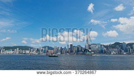 Victoria Harbor, Hong Kong 27 July 2019: Hong Kong harbor