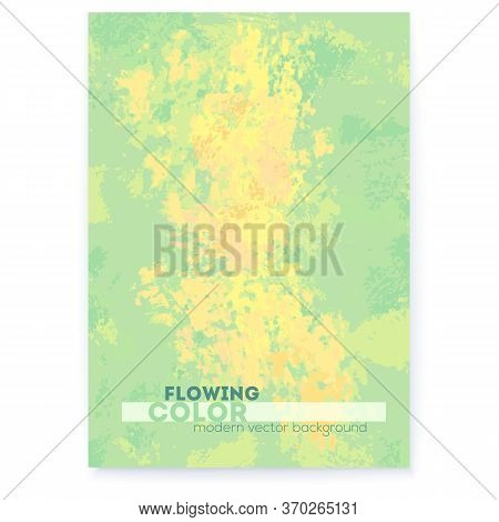 Hand Drawn Canvas. Green, Yellow And Orange Colors. Abstract Banner In Impressionism Style. Vector I