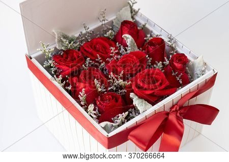 Romantic Red Roses In A Square White Gift Box. On White Background