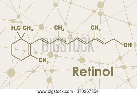 Vitamin A Retinol Molecule. Skeletal Formula. Connected Lines With Dots Background.