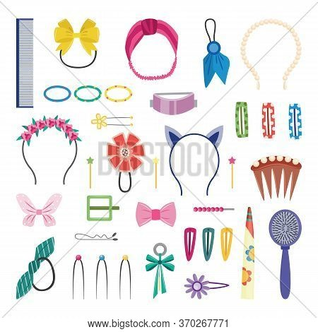 Girly Hair Accessories, Isolated Set Of Cute Hairstyle Decorations