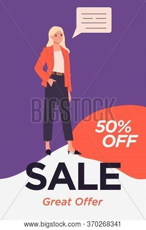 Company Representative Announcing Sale. Great Offer Text, Woman, Speech Bubble Flat Illustration. Re