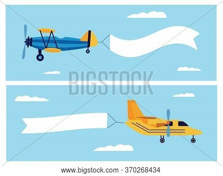 Flat Cartoon Banner Set Of Retro Airplane Dragging Blank White Ribbon Flag In Air