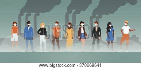 Environmental Air Pollution Banner - Cartoon Character People With Protective Face Masks In Front Of
