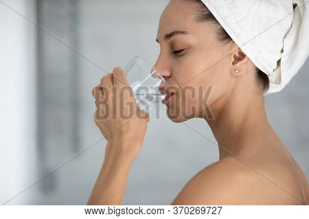 Close Up Profile Satisfied Woman Drinking Pure Still Mineral Water