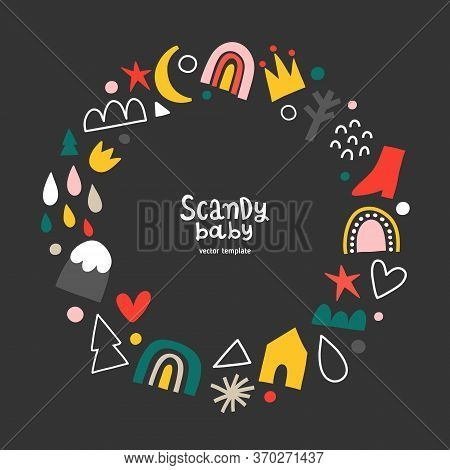 Scandinavian Frame Template For Babies, Vector Border With Copy Space For Your Text Or Photo, Arrang