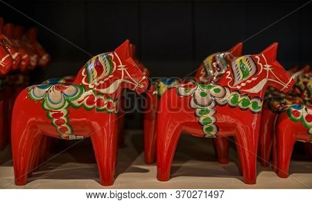 Stockholm, Sweden - August 20, 2017: Traditional Hand-made Carved And Painted Dalarna Wooden Horse S