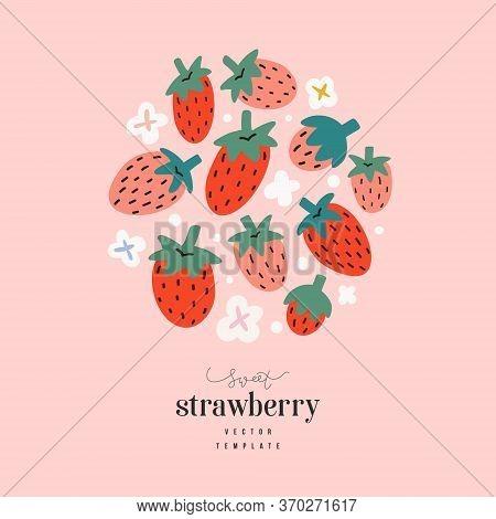 Strawberry Arrangement, Cute Hand Drawn Doodle Strawberries, Vector Flat Illustration, Modern Design