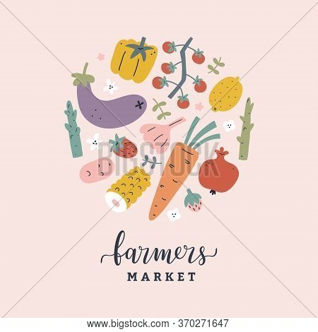 Vegetable Poster, Farmers Market Banner, Hand Drawn Illustration With Various Fruits And Vegetables