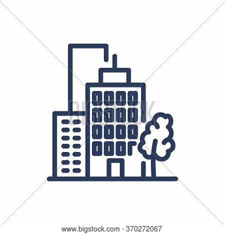 Commercial Buildings Thin Line Icon. Tree, Office, District Isolated Outline Sign. Buildings And Urb