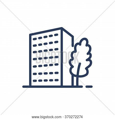 High-rise Condo Thin Line Icon. Apartment, Midtown, Tree Isolated Outline Sign. Buildings And Urban