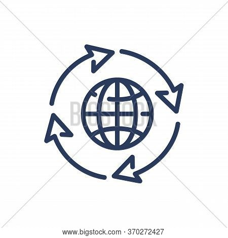 Worldwide Circulation Thin Line Icon. Globalization, Shipping, Arrow Isolated Outline Sign. Transpor