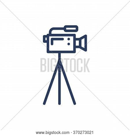 Camcorder Thin Line Icon. Video Camera, Tripod, Filming Isolated Outline Sign. Moviemaking, Reportag