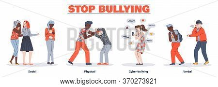 Illustrations Of 4 Types Of Bullying: Verbal, Social, Physical, And Cyberbullying. A Set Of Conflict